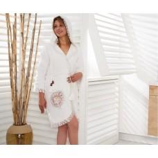 Халат махровый женский c вышивкой (Турция)